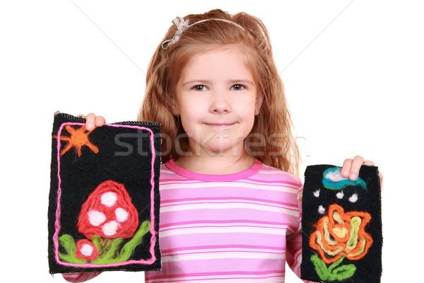 Kız resimleri kendi gülümseme mutlu çocuk Stok fotoğraf © krugloff