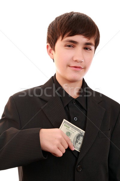 Artful teenager with a denomination 100 $ Stock photo © krugloff