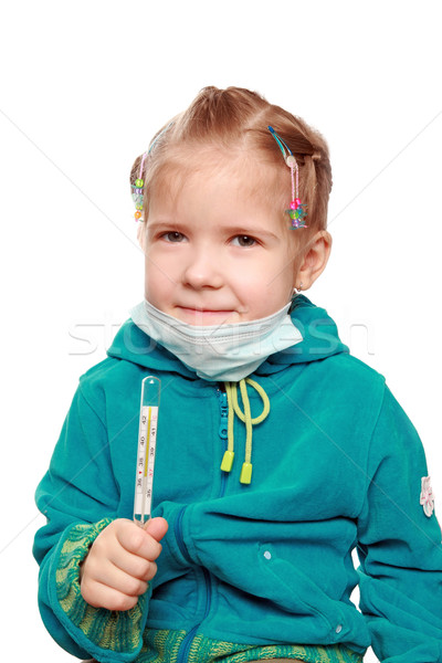 The happy girl with the thermometer in a hand  Stock photo © krugloff