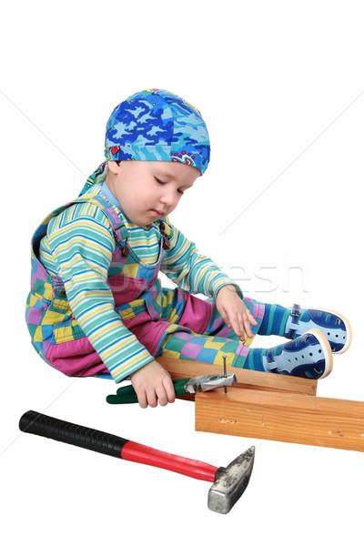 Gyerek szerszámok fiú élvezet felnőttek munka Stock fotó © krugloff