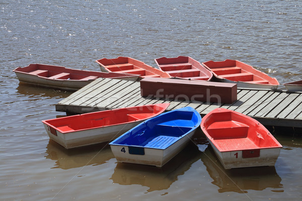 Bright boats at a river mooring  Stock photo © krugloff