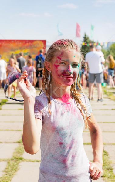 Alegre menina secar pintar festival festa Foto stock © krugloff