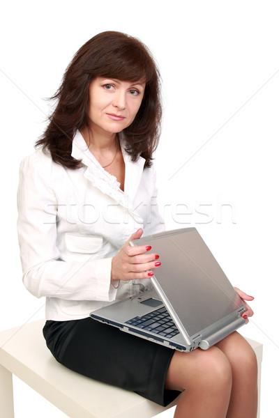 Işkadını dizüstü bilgisayar güzel bir kadın başlangıç çalışmak bilgisayar Stok fotoğraf © krugloff