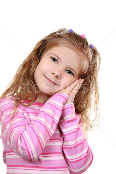 Imitação dormir menina gesto mãos cara Foto stock © krugloff