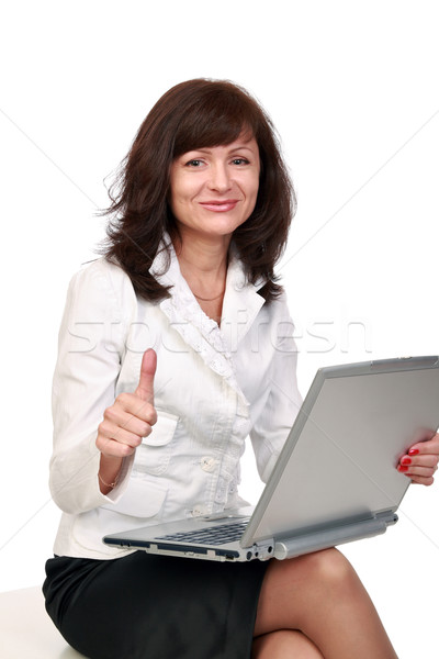Una buena noticia sonriendo mujer hermosa gesto éxito nina Foto stock © krugloff