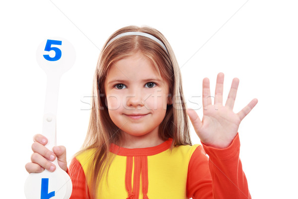 Girl learning to count  Stock photo © krugloff