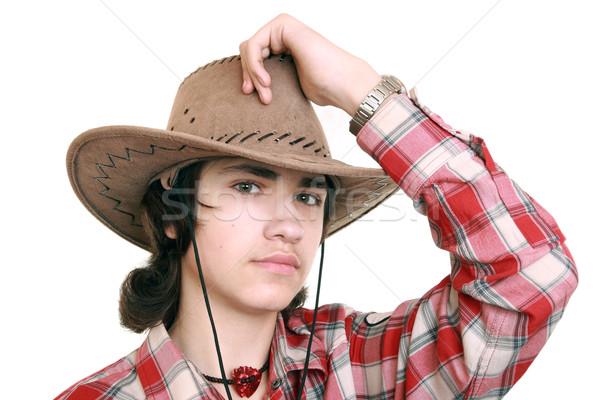Adolescent chapeau de cowboy jeune homme visage Photo stock © krugloff
