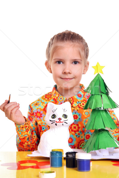 Girl with homemade toys  Stock photo © krugloff