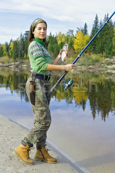 Girl on autumn fishing  Stock photo © krugloff