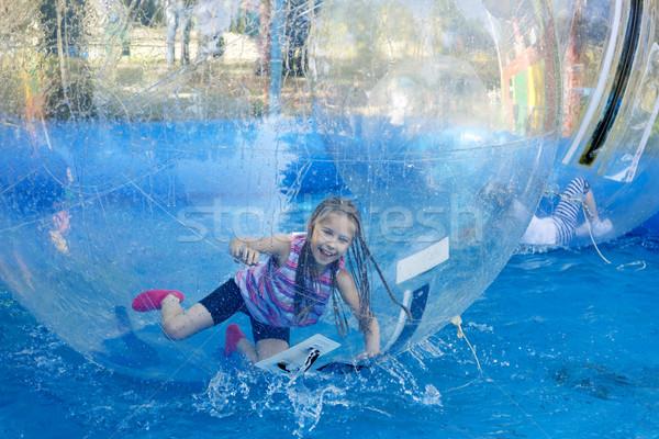 Lány hullámvasút mozgékonyság sebesség víz gyermek Stock fotó © krugloff