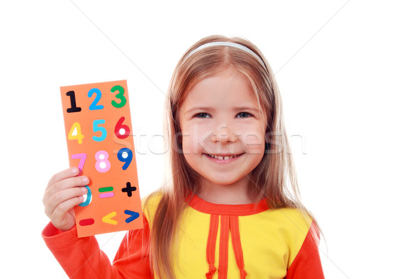 Girl with a set of digits Stock photo © krugloff