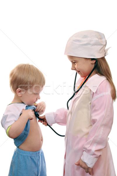 Doktor hasta oynamak kardeş kardeş meme Stok fotoğraf © krugloff