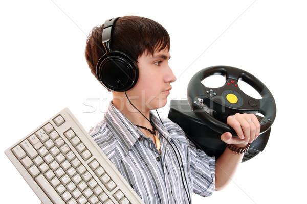 Zmęczony sprzęt kontroli gra komputerowa komputera twarz Zdjęcia stock © krugloff
