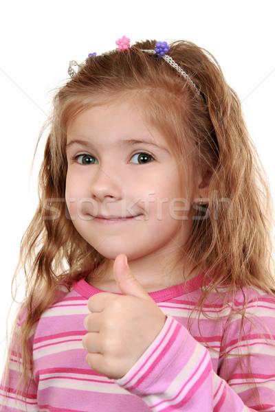 Memnun kız yukarı başparmak mutlu Stok fotoğraf © krugloff