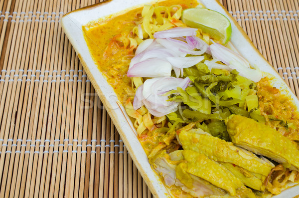 Traditional egg noodle with chicken curry Stock photo © kttpngart