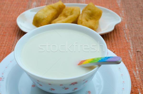 Soja leite delicioso comida saúde café da manhã Foto stock © kttpngart