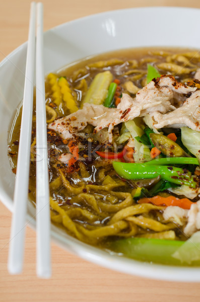 Fried Noodle with Pork Stock photo © kttpngart