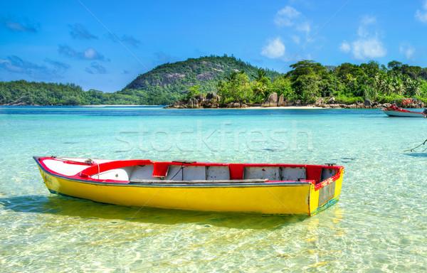Tengerpart Seychelle-szigetek kikötő sziget víz fa Stock fotó © kubais