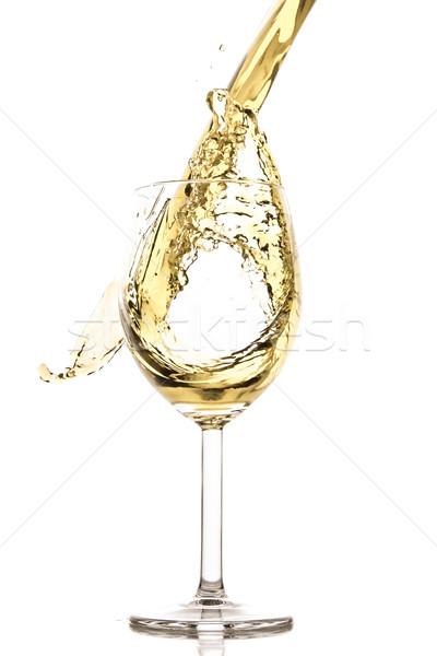 Białe wino splash odizolowany biały streszczenie pić Zdjęcia stock © kubais