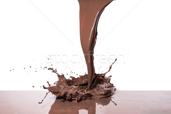 Warme chocolademelk splash geïsoleerd witte textuur Stockfoto © kubais