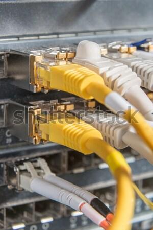 Hálózat kábelek kapcsoló közelkép adatközpont hardver Stock fotó © kubais