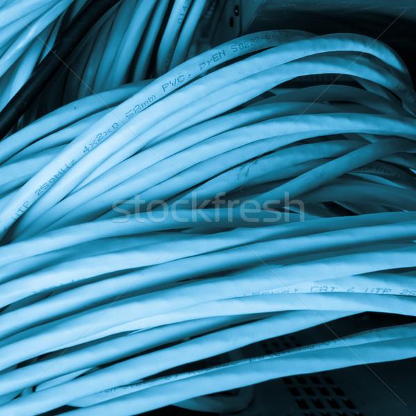 Ağ kablolar teknoloji mavi grup Stok fotoğraf © kubais