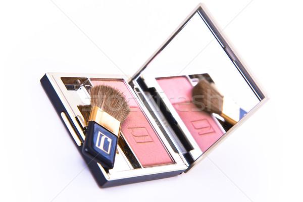 Kompakt bőrpír ecset izolált szem divat Stock fotó © kubais