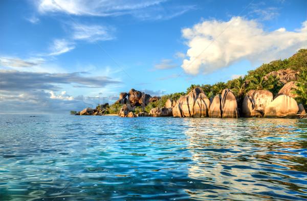 Strand Seychellen bron la eiland water Stockfoto © kubais