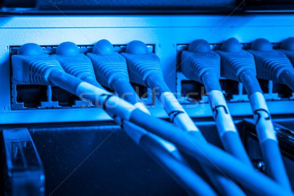 Hálózat csomópont folt kábelek közelkép ethernet Stock fotó © kubais