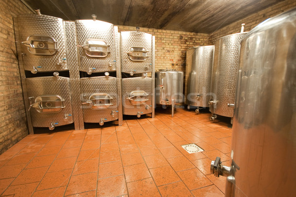 アルミ 発酵 ワイン 洞窟 工場 赤 ストックフォト © kubais