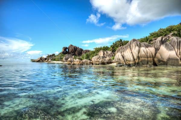 Tengerpart Seychelle-szigetek forrás LA sziget víz Stock fotó © kubais