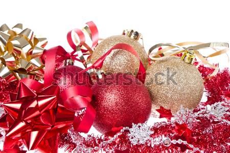 Stok fotoğraf: Noel · ağaç · arka · plan · altın · beyaz