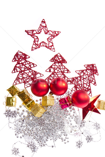 christmas decoration with trees and balls Stock photo © kubais