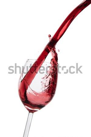 áramló vörösbor izolált fehér ital vacsora Stock fotó © kubais