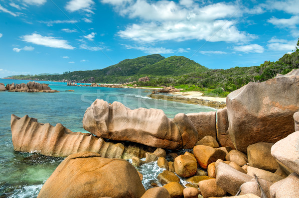tropical turquoise sea with granite boulders Stock photo © kubais