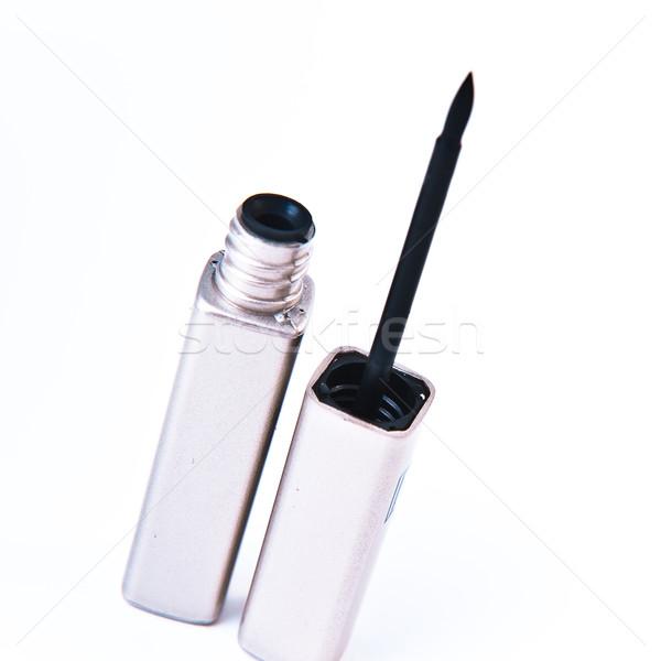 Eyeliner Open witte vrouw achtergrond schoonheid Stockfoto © kubais