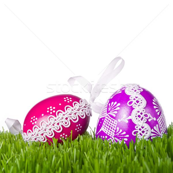Húsvéti tojások fű díszített húsvét terv háttér Stock fotó © kubais