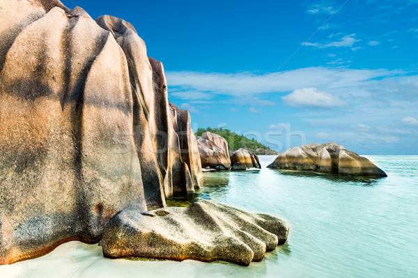 ビーチ 花崗岩 ターコイズ 海 空 水 ストックフォト © kubais