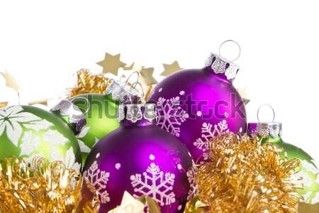 christmas balls with tinsel Stock photo © kubais