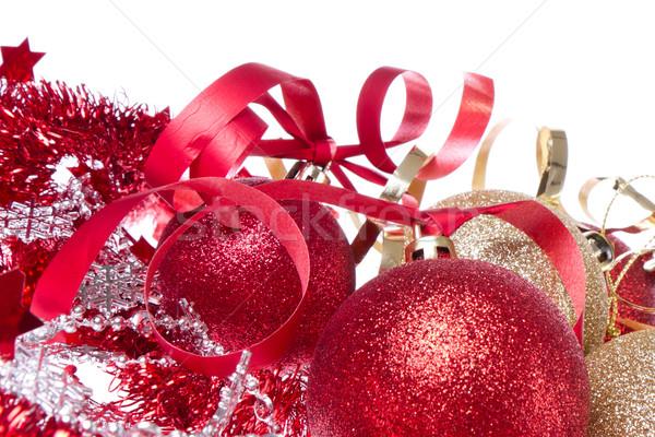 christmas balls with ribbon and tinsel Stock photo © kubais