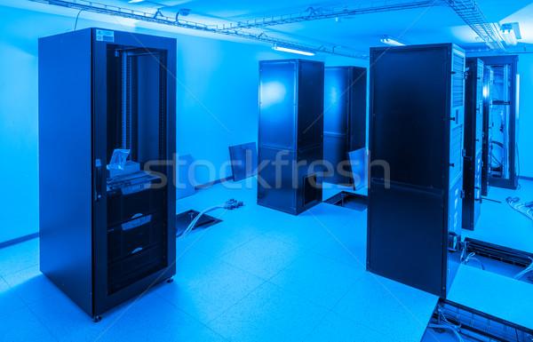 Szerver szoba adatközpont biztonság hálózat kék Stock fotó © kubais