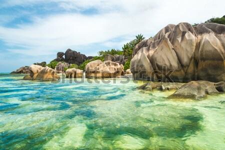ストックフォト: ビーチ · 花崗岩 · ターコイズ · 海 · 空 · 水