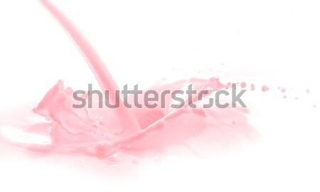 Foto stock: Morango · leite · salpico · isolado · branco · comida