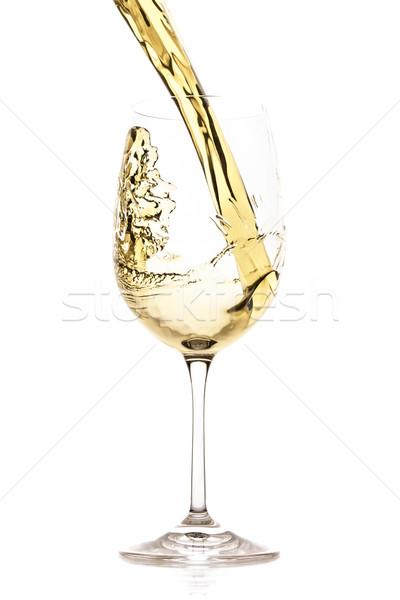 Witte wijn splash geïsoleerd witte abstract drinken Stockfoto © kubais