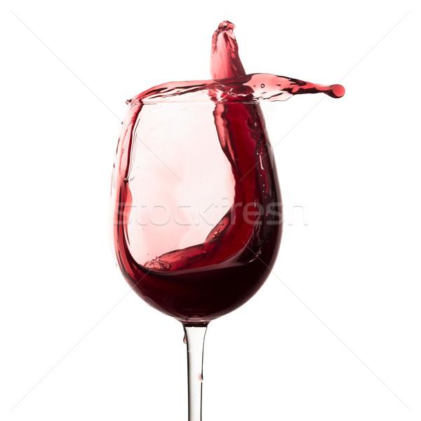 Foto stock: Vino · tinto · fuera · vidrio · aislado · blanco
