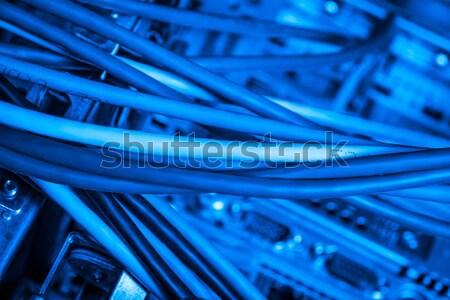 Lif ağ Sunucu optik kablolar veri merkezi Stok fotoğraf © kubais
