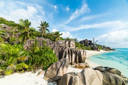 Playa granito turquesa mar agua hoja Foto stock © kubais