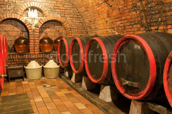 Foto stock: Vinho · velho · caverna · parede · jantar · uvas