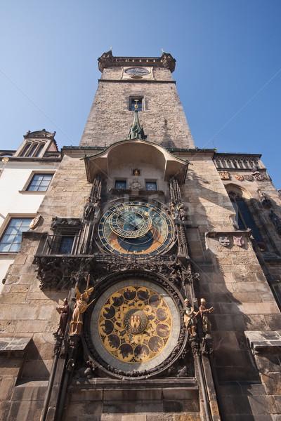 歴史的な建物 クロック 旧市街 ホール 太陽 青 ストックフォト © kubais