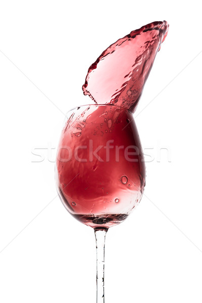 Vörösbor csobbanás ki üveg izolált fehér Stock fotó © kubais